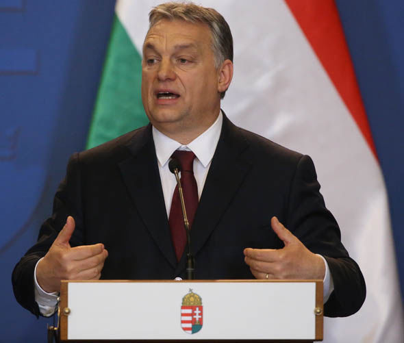 Hungary's Prime Minster Viktor Orbán delivering a speech