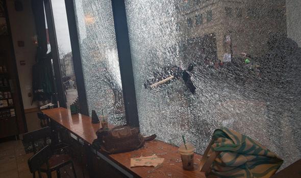 Left-wing activists smash up streets in Washington
