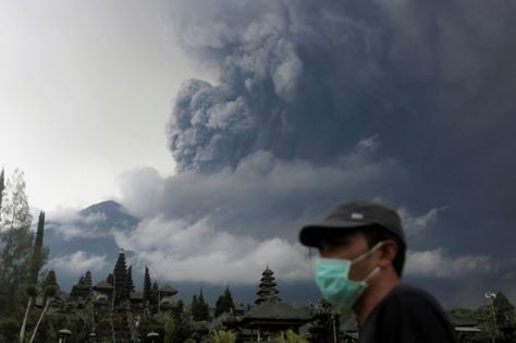 Image result for 100,000 told to evacuate as Bali volcano spews huge ash cloud