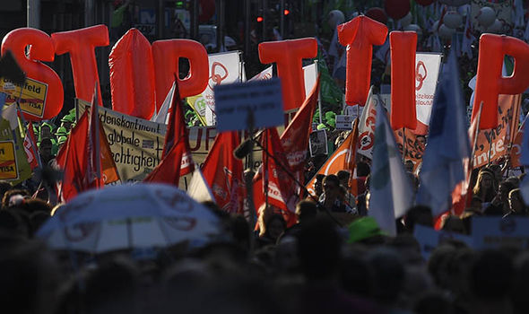 Protesters against TTIP in Brussels