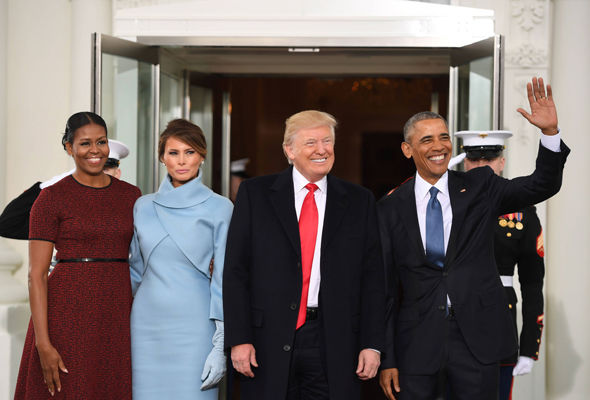 The Obamas welcomed the Trumps to the White House