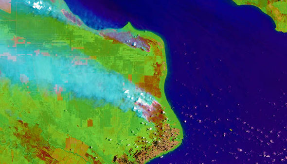 NASA satellite image of the fire