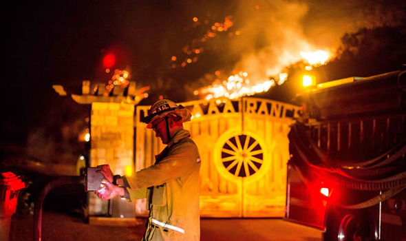 fire crews at california wildfire