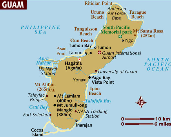Guam map Where is Guam Will North Korea attack the US