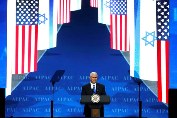 mike pence giving a speech to AIPAC