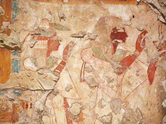 Khonsu and his wife worship gods Osiris and Isis