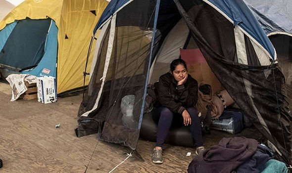 Central American migrants travelling to the United States staying at a shelter in downtown Tijuana