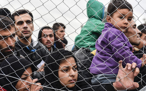 Refugees at the Macedonia-Greece border
