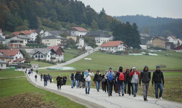 migrants walking in Germany