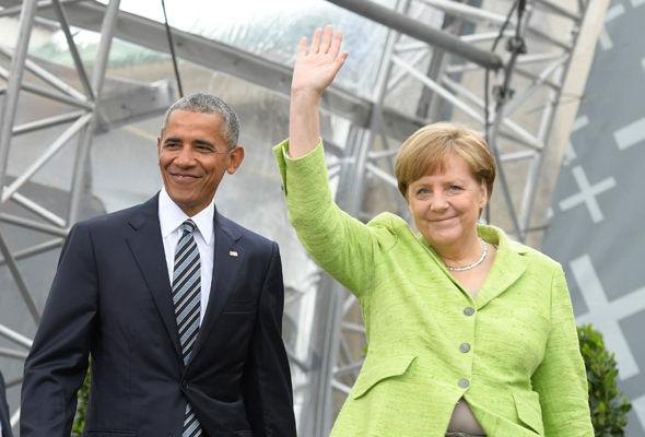 Bishop Heinrich Bedford-Strohm, former US president Barack Obama and German Chancellor Angela Merkel
