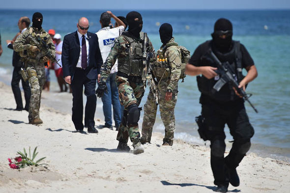 Police on the beach in Tunisia