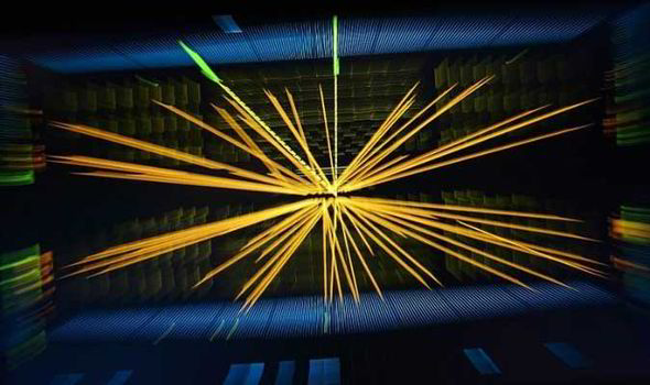 Image of protons colliding at LHC