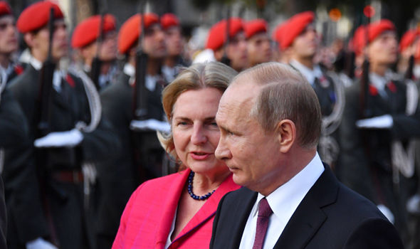 Vladimir Putin and Karin Kneissl