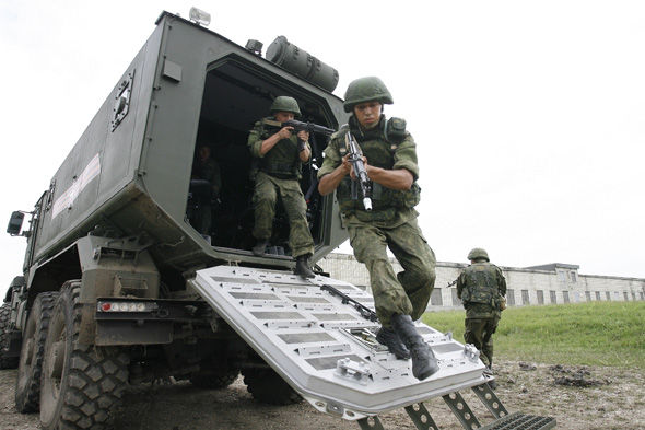 Russian troops on exercise