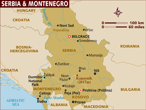 Map of Serbia and Montenegro