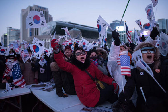 Protesters in South Korea