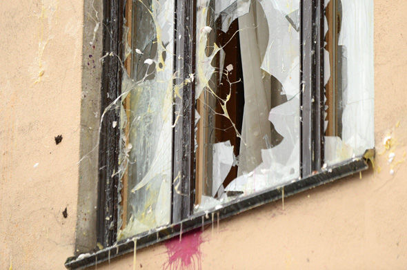 A window of the Turkish embassy is pelted with eggs during an anti-Turkey picket in Moscow