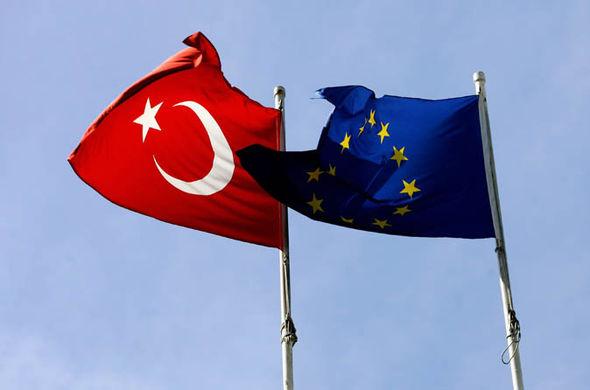 La bandera de pavo y bandera de la UE volando juntos
