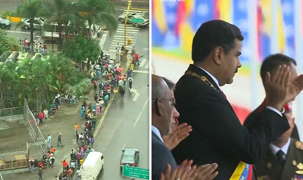 12-hour food queues and President Maduro