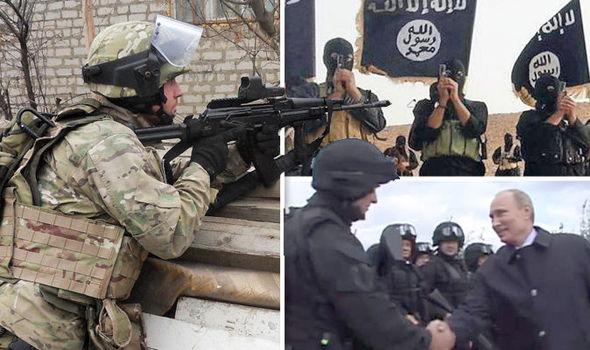Spetsnaz troops, left, and ISIS militants, right