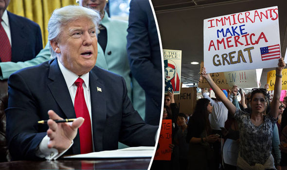 A new poll says most US voters support Donald Trump's travel ban as protests erupt in the US and UK