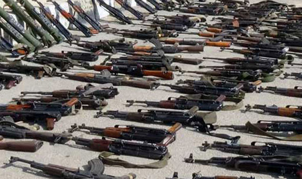 The stockpile of weapons was found near a mosque