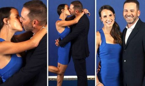 Sergio Garcia kisses wife as pair only have eyes for each other at Ryder Cup 2021 dinner