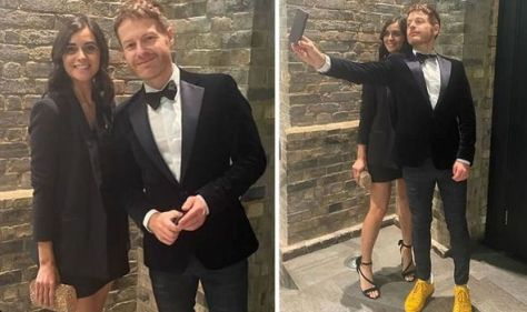 Lucy Verasamy flashes pins as she's seen at event with weatherman Tomasz Schafernaker