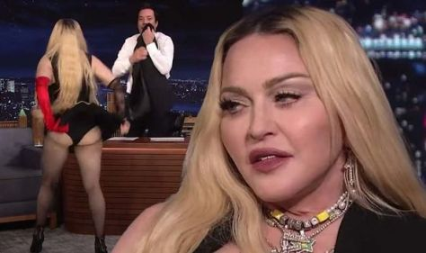 Madonna, 63, stuns Tonight Show viewers as she flashes bum to audience 'Next level cringe'