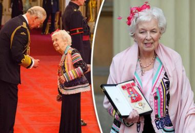 June Whitfield is absolutely delighted to receive a damehood at Buckingham Palace
