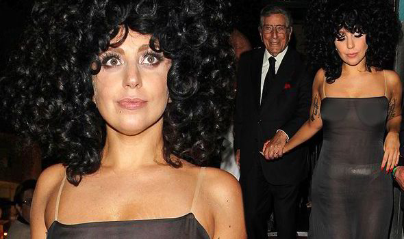 Lady Gaga shows off her breasts in revealing outfit