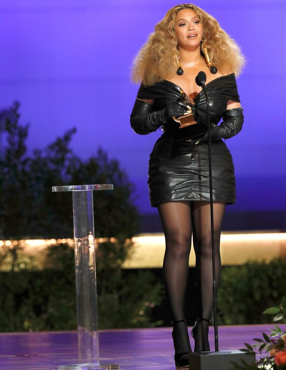https www express co uk celebrity news 1409954 beyonce grammy awards 2021 outfit dress pictures winners tears emotional news latest