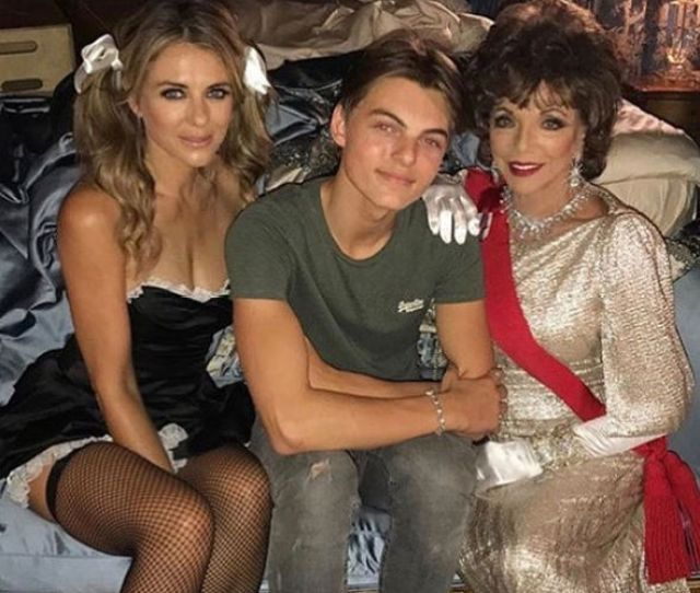 Elizabeth Hurley Instagram Star With Her Son Damian And Dame Joan Collins On Set Of