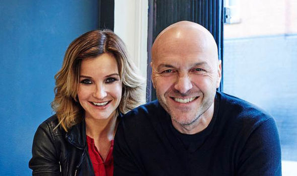 Helen Skelton with Sunday Brunch chef Simon Rimmer