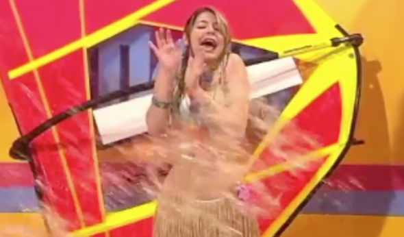 Holly Willoughby soaked with water