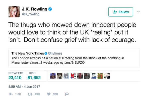 JK Rowling tweets NYT