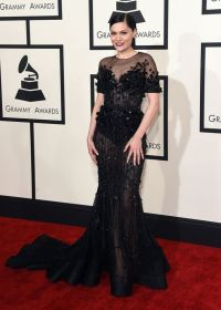 Grammys 2015: Jessie J looks chic in a black sheer gown ...