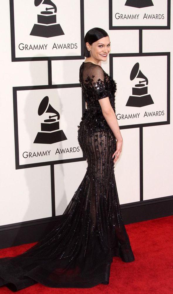 Grammys 2015 Jessie J Looks Chic In A Black Sheer Gown