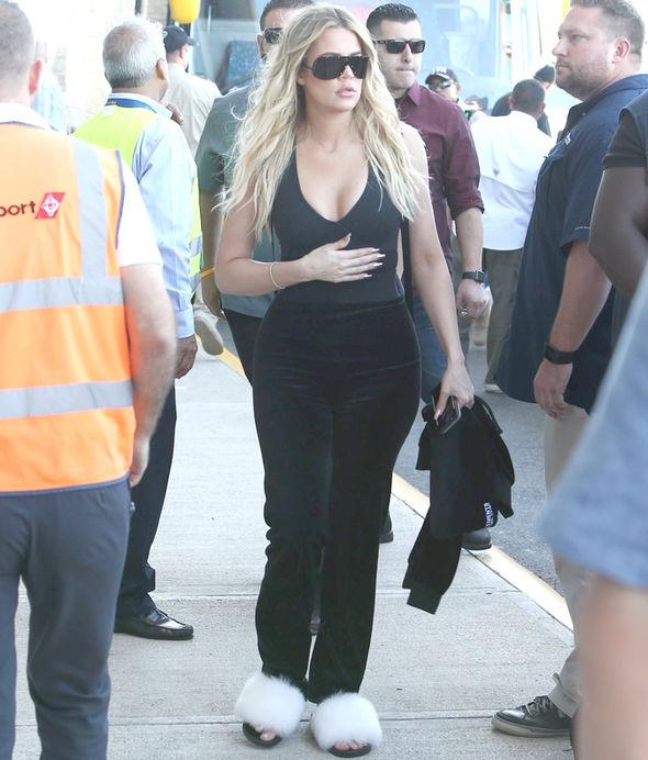 Kim Kardashian Kylie Jenner Costa Rica cleavage braless dress