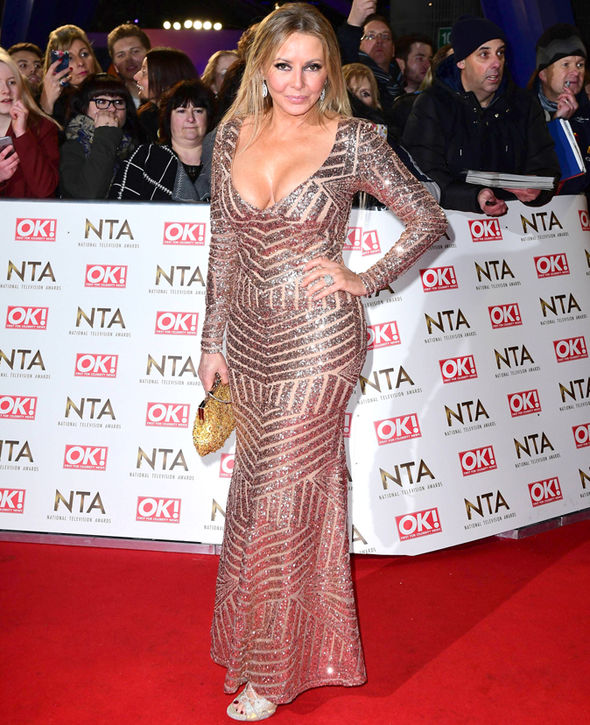 National TV Awards 2017 Carol Vorderman I'm A Celebrity cleavage gold dress