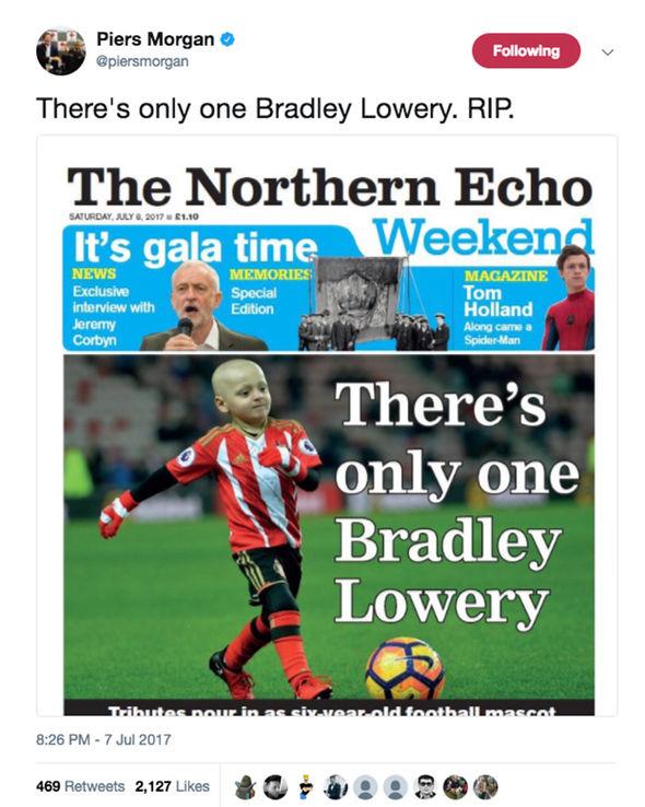 Piers Morgan Bradley Lowery tribute