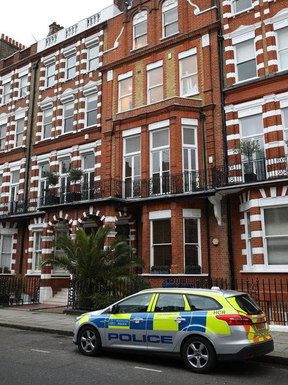 Police outside Tara Palmer-Tomkinson flat