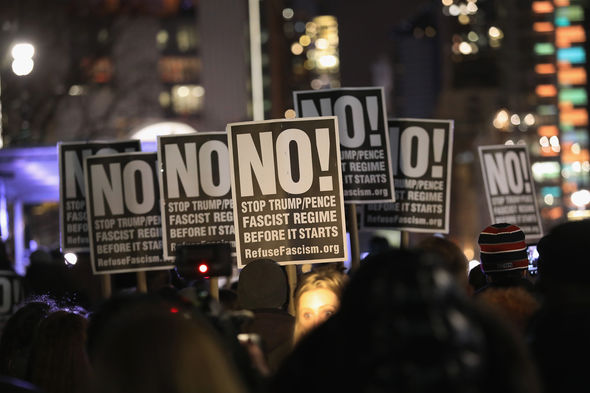 Protestors took to the streets of Manhattan