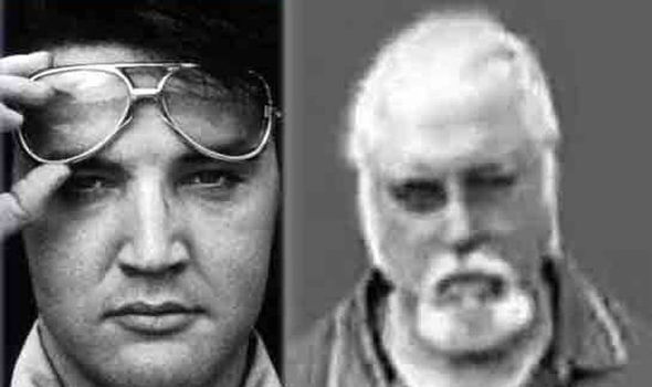 Elvis, left, who died today 39 years ago and Bill Barmer, who denies being the King.