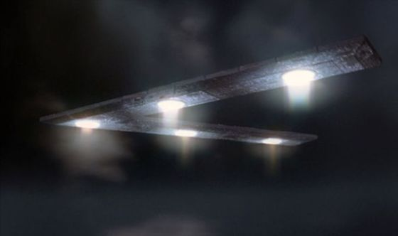 A CGI impression of one of the huge triangle UFOs after an earlier sighting