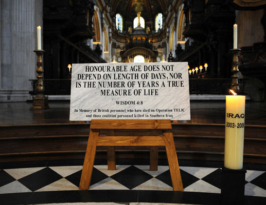An engraved memorial stone, brought from the Basra memorial wall in Iraq, at St Paul's Cathedral in central London, following a service to commemorate the end of combat operations in Iraq