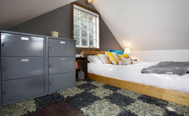 The Bedroon View Of The The Rustic Modern Tiny House In