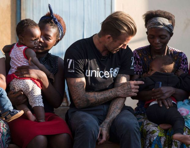 UNICEF Goodwill Ambassador David Beckham in Makhewu, Swaziland