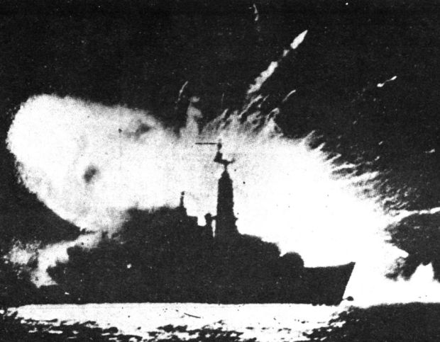 Rare photograph showing an explosion on a war ship during the Falklands War in 1982