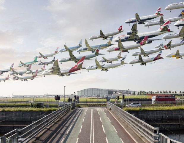 As ministers clear a third runway for takeoff at Heathrow a photographer has released a  series of composite images showing the astonishing volume of air traffic coming from the world's busiest airports.